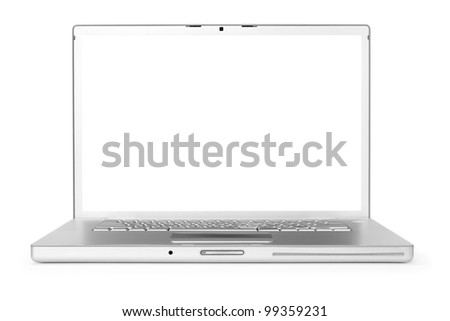 Laptop over white background with clipping path for screen - stock photo