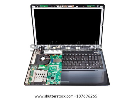 Laptop partial disassembled isolated on white