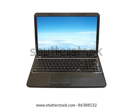 laptop PC isolated on white background - stock photo