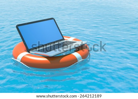 Laptop pc software rescue concept illustration.