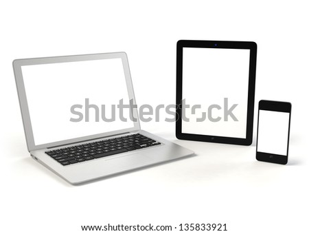 Laptop PC, tablet PC and smart phone( with copy space) - stock photo