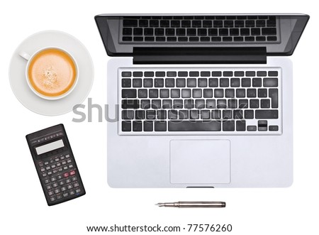 Laptop. pen, cup and unusual calculator - stock photo