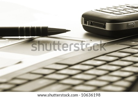 laptop, phone, business technology