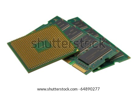 Laptop processor and memory modules isolated on a white background - stock photo