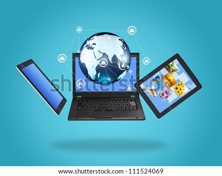 Laptop screen technology with social network structure - stock photo