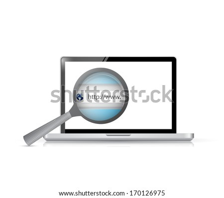 laptop search bar view illustration design over a white background