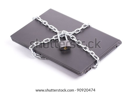Laptop security chain and closw padlock isolated - stock photo