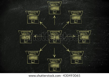 laptop sending data to other computers around it in circle - stock photo