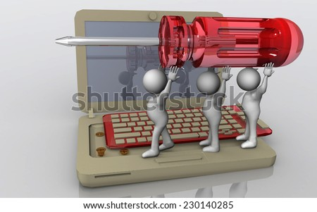 laptop service team  professional - little white humans hold a screwdriver in order to repair a 3d laptop - stock photo