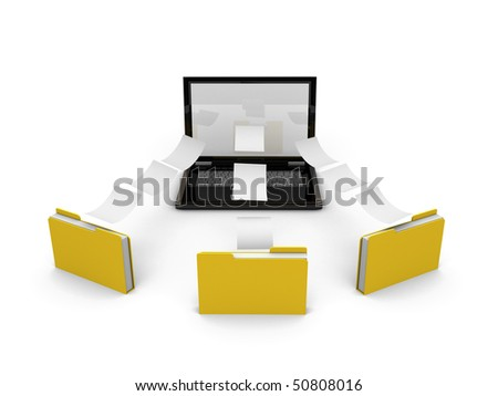 laptop sharing information with three files - stock photo