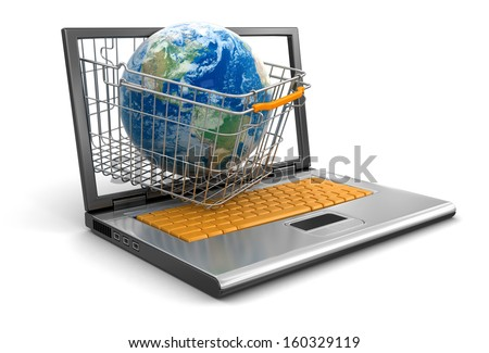 Laptop, Shopping Basket and Globe Elements of this image furnished by NASA. - stock photo