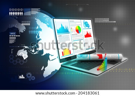 Laptop showing a financial report - stock photo