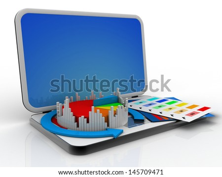 Laptop showing a spreadsheet and a paper with statistic charts, pie chart  - stock photo