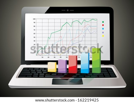 Laptop showing a spreadsheet with some 3d charts over it - stock photo
