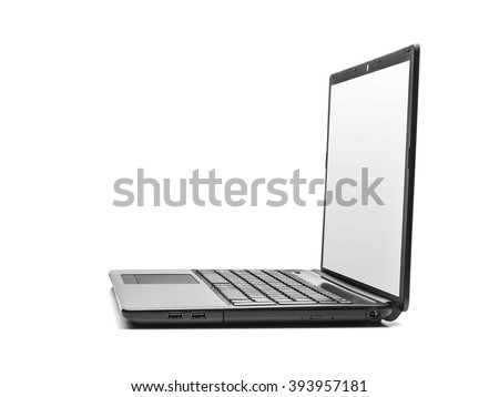 Laptop side view isolated on white background. - stock photo
