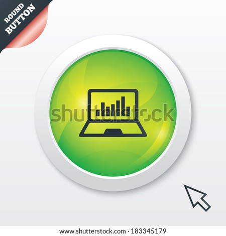 Laptop sign icon. Notebook pc with graph symbol. Monitoring. Green shiny button. Modern UI website button with mouse cursor pointer. - stock photo