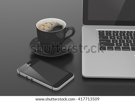 Laptop smartphone and coffee cup on black. 3d rendering.