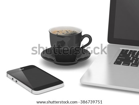 Laptop smartphone and coffee cup on white