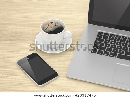 Laptop smartphone and coffee cup on wood table. 3d rendering.