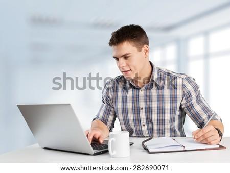 Laptop, student, boy. - stock photo