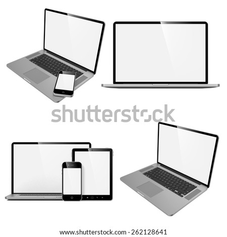 Laptop, Tablet and Phone. Set of Computer Devices on White Background. - stock photo