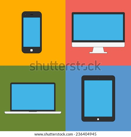 laptop, tablet computer, monitor and smartphone flat design template elements for web and mobile applications. illustration  - stock photo