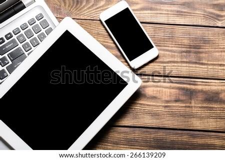 Laptop, tablet, mockup. - stock photo