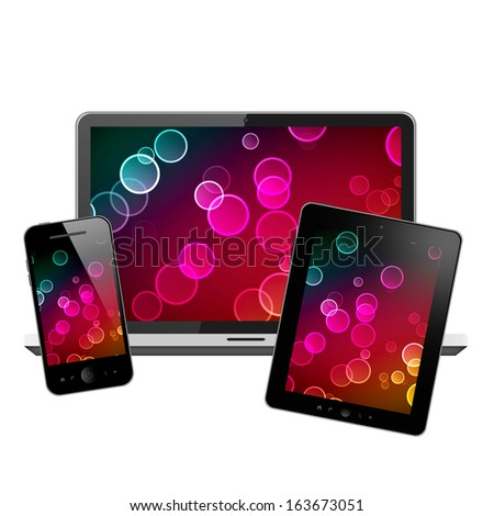 Laptop, tablet pc and mobile phone - stock photo