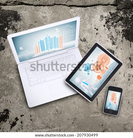 Laptop, tablet pc and smart phone - stock photo