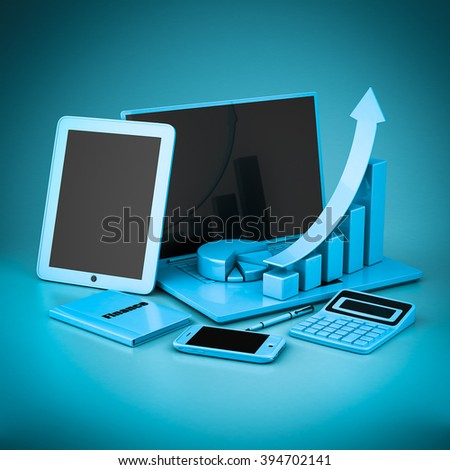 Laptop, Tablet PC and Smartphone on a blue background - stock photo