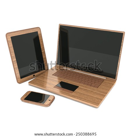 Laptop, Tablet PC and Smartphone on a white background - stock photo
