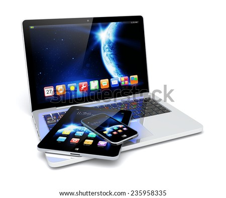 Laptop, tablet pc computer and mobile smartphone with space dawn wallpaper and apps on a screen. The Earth texture of this image furnished by NASA. (http://visibleearth.nasa.gov/view.php?id=57735) - stock photo