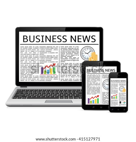 Laptop, tablet PC computer and touchscreen smartphone with business news feed - stock photo
