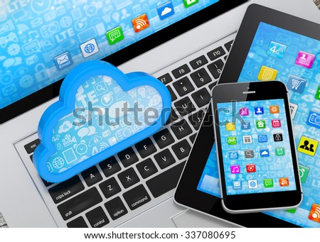laptop, tablet pc, smart phone and cloud - stock photo