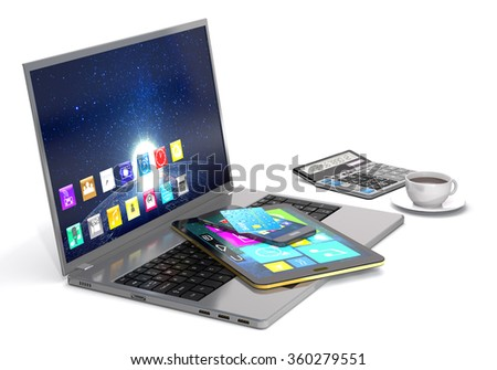 Laptop, tablet pc, smart phone, calculator, bank card and cup of coffee on white background. - stock photo