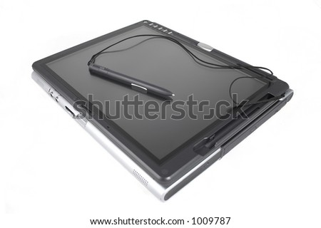laptop tablet pc with pen on top, isolated image - stock photo
