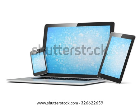 laptop, tablet, phone, on white