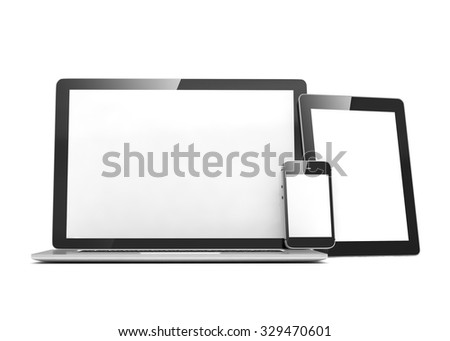 laptop, tablet, phone, on white - stock photo