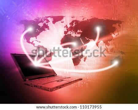 Laptop technology background - stock photo