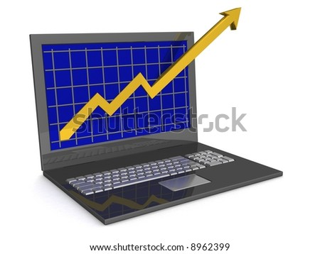Laptop. The concept of financial growth. 3D image.