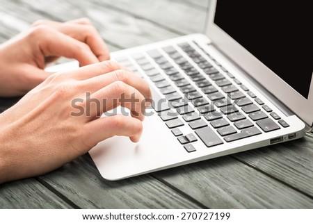 Laptop, using, business. - stock photo