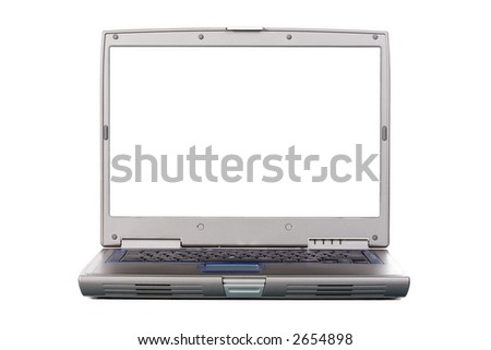 Laptop view from the front. Space for writing or placing your own image or text. Isolated. White (ffffff) screen.