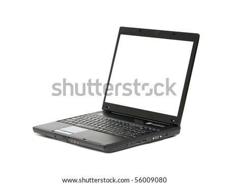 Laptop, white screen - stock photo