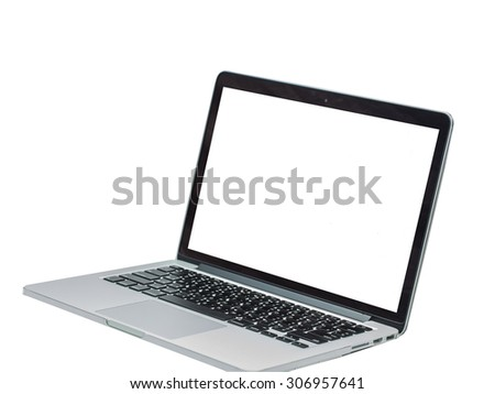 laptop white screen isolated on white background