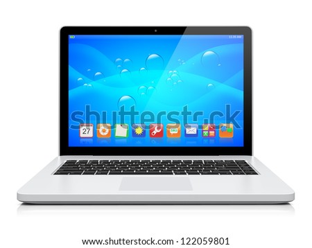 Laptop with a blue background and colorful apps on a screen. Isolated on a white. 3d image  - stock photo