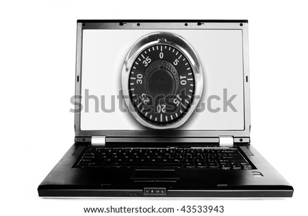 Laptop with a combo lock on the the screen