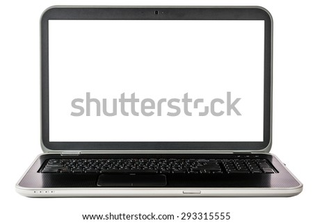 Laptop with a large and clear screen, isolated on a white background. Big screen. Black color. - stock photo