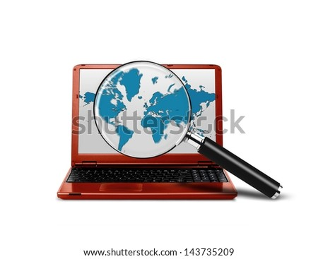 Laptop with a magnifying glass searching the internet