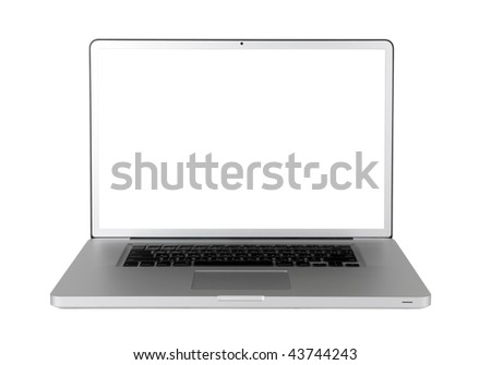 Laptop with a white screen isolated on a white background