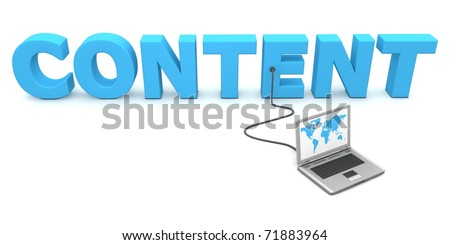 laptop with a world map connected to the blue 3D word CONTENT - stock photo